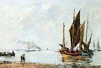Boats At Anchor along the Shore, boudin