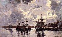 Camaret, Three Masters Anchored in the Harbor, 1873, boudin