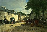 Cattle market at Daoulas, Brittany, 1861, boudin