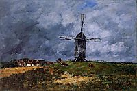 Cayeux, Windmill in the Countryside, Morning, 1890, boudin