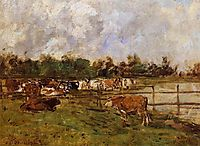 Cows in the Meadow, c.1890, boudin