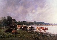 Cows on the Riverbanks of the Touques, 1880, boudin