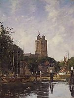 Dordrecht, The Great Church from the Canal, c.1874, boudin