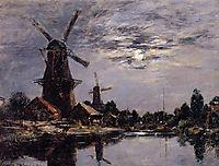 Dutch Windmills, 1884, boudin
