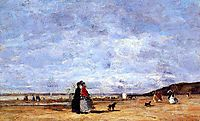 Elegant Women on the Beach, 1863, boudin