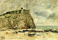 Etretat, Beached Boats and the Cliff of Aval, c.1892, boudin