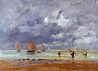 Fishermen and Sailboats near Trouville, 1892, boudin
