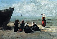 Fisherwives Waiting for the Boats to Return, 1875, boudin