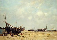 Fishing Boats Aground and at Sea, 1880, boudin
