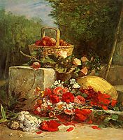 Flowers and Fruit in a Garden, 1869, boudin