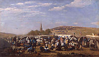 Forgiveness in the St. Anne chapel at Palud Plonévez Porzay (Finistère), 1858, boudin