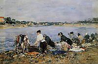 Laundresses on the banks of Touques, 1884, boudin