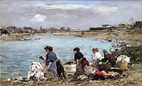 Laundresses on the Banks of the Touques, 1893, boudin