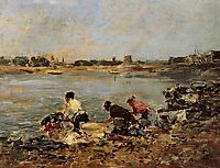 Laundresses on the Banks of the Touques, c.1890, boudin