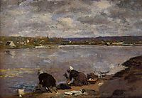 Laundresses on the Banks of the Touques, c.1883, boudin