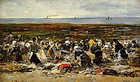 Laundresses on the beach, Low tide, c.1893, boudin