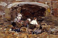Laundresses near a Bridge, c.1887, boudin