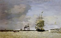 Le Havre. Entrance to the Port., c.1864, boudin