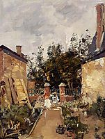 Madame S. with Her Children in Their Garden at Trouville, 1873, boudin