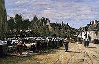 The Market at Landenneau, 1870, boudin