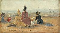 On the Beach, Trouville, 1887, boudin