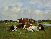 Pasturage on the Banks of the Touques, 1884, boudin