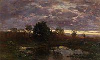Pond at Sunset, c.1857, boudin