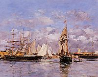 The Port of Trouville, High Tide, 1880, boudin