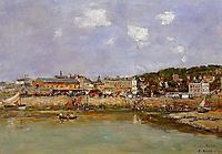 The Port of Trouville, the Market Place and the Ferry, 1884, boudin