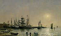 Portrieux Boats at Anchor in Port , 1873, boudin