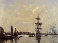 Sailing Boats at Quay, c.1870, boudin