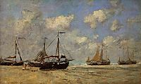 Scheveningen, Boats Aground on the Shore, 1875, boudin