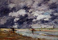 Shore at Low Tide, Rainy Weather, near Trouville, 1895, boudin