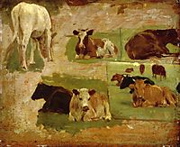 Study of Cows, c.1860, boudin