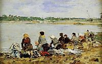 Washers on the verge of Touques, 1885, boudin