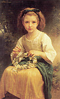 Child braiding a Crown of Flowers, 1874, bouguereau