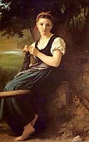 The Knitter, 1869, bouguereau