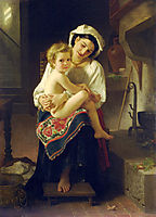 Young Mother Gazing At Her Child, 1871, bouguereau
