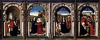 Polyptych of the Virgin: The Annunciation, The Visitation, The Adoration Of The Angels and The Adoration Of The Kings, c.1445, bouts