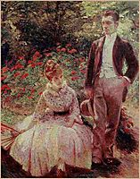 The Artist's Son and Sister in the Garden at Sevres, 1890, bracquemond