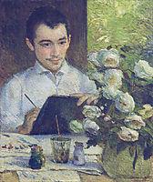 Pierre Bracquemond painting a bouquet of flowers, 1887, bracquemond