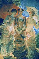 Three ladies with parasol (aka Three Graces), 1880, bracquemond