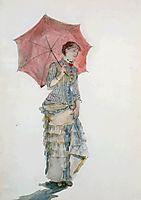 Woman with an Umbrella, 1880, bracquemond