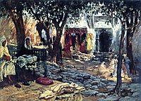 Idle Moments: An Arab Courtyard, bridgman
