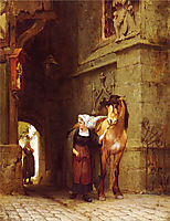 Leading the Horse from Stable, bridgman