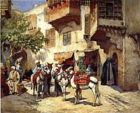 Marketplace in North Africa, bridgman