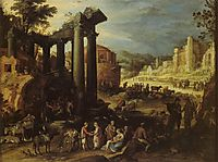 The Campo Vaccino with a Gypsy Woman Reading a Palm, 1603, bril