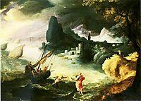 Jesus walking on the Sea of Galilee, 1590, bril