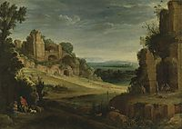 Landscape with a Hunting Party and Roman Ruins, bril