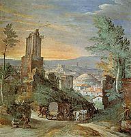 Landscape with Roman Ruins, 1580, bril